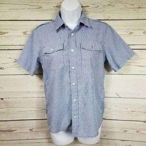 Route 66 pinstripe button down short sleeve shirt